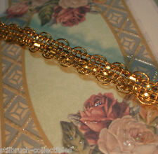 "Antique vintage french gold metal ribbon work lace braid trim lampshade 3/8"" p.y"