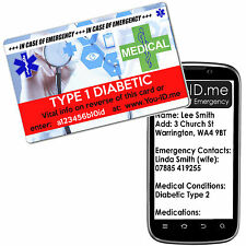 Type 1 Diabetic Medical Emergency ID Card ICE FREE Silver Medic Alert Service