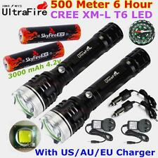 2x 500meter 2000lumen CREE XML XM-L T6 LED TACTICAL 18650 Flashlight Torch Lamp