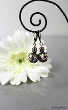 Glass Jewels Bronze Ohrringe Ohrhänger Vintage Lila Violett Perlen #I001