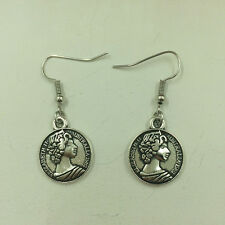 Free shipping Antique Silver Jewelry Beauty head earring @1