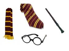 HARRY POTTER FANCY DRESS SET HOGWARTS SCARF GLASSES WAND TIE STAG BIRTHDAY HEN