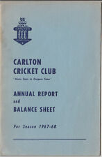 Carlton Cricket Club 1967-68 annual report pictures of new life members