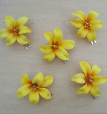 "5 Piece Lot Small  2"" Canary Lily Silk Flowers Hair  Clip, Prom,Wedding, Dance"
