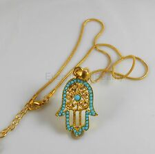 18K Gold plaTED NECKLACE FATIMA HAND Evil EYE FILIGREE , hamsa rhinestones