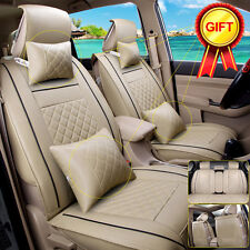 Car Seat Cover 5-Seats PU Leather Front & Rear W/Neck Lumbar Pillow Size L Beige