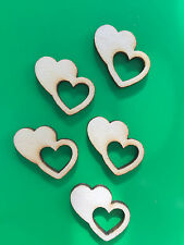 5 x Wooden Mini LOVE HEARTS EMBELLISHMENT Craft Card Scrapbook Art sd318