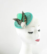 Green Brown White Pheasant Feather Fascinator Headpiece 40s Pillbox Hat Vtg 270