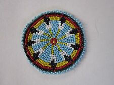 "3"" GLASS BEADED ROSETTES TRIBAL NATIVE CRAFTS LEATHER SEW ON REGALIA POW WOW 1A"