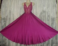 VTG Magenta OLGA Lace Bodice FULL Sweep Nightgown Negligee Gown 92770 L XL +