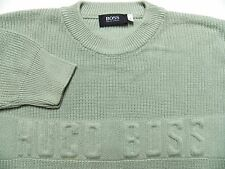 HUGO BOSS MENS XL CREWNECK HEAVY WINTER SWEATER THICK KNIT GREEN MADE IN ITALY
