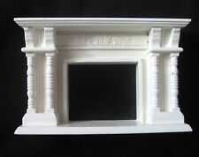Dollhouse Miniature White Fireplace with Detail Spindles