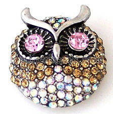 White Clear Pink Brown Rhinestone Owl 20mm Snap Charm Jewelry For Ginger Snaps