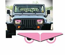 87-96 PINK Jeep Wrangler YJ Comanche Cherokee Angry Eyes Mad Headlight Decal