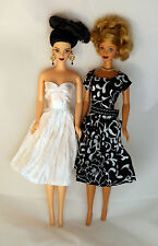2 Short Dresses 1 in White and Other in Black and White  Made to Fit Barbie