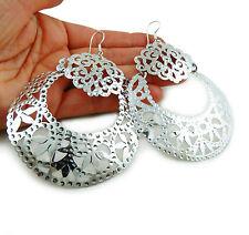 Large Hoops 925 Sterling Silver Circle Drop Earrings