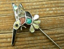 vint ZUNI NATIVE AMERICAN STERLING SILVER INLAID TURQUOISE CORAL BIRD STICK PIN