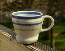 Starbucks Coffee Company 3oz Demitasse Espresso Shot Mug Blue Green Stripes 2007