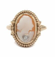 Vintage 10K Yellow Gold Diamond Habille Shell Cameo Ring