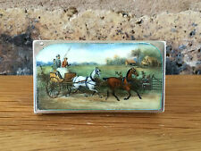 Antique Victorian 1886 Sampson Mordan Silver & Enamel Vesta Case Trap & Horses