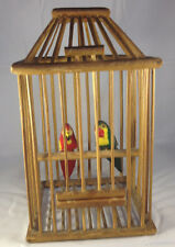 VINTAGE FAUX BAMBOO FOLKY BIRD CAGE WITH TWO CARVED & PAINTED BIRDS