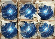 6 Dark Blue Glass Glitter Stripe Christmas Tree Decorations Ornaments Boxed M144