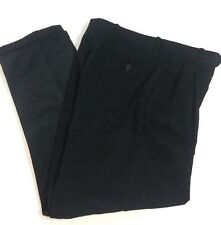 ALAN FLUSSER Corduroy Pants Navy Blue 32x30 Pleated Front Cuffs Casual Dress