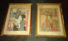 Paire estampes japonaises sur crepon-fin XIX- Geisha joueur de flute & samourai