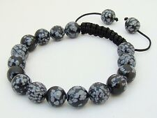 Men's Shamballa bracelet  all 10mm Snowflake Obsidian beads
