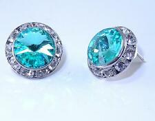 """Turquoise Austrian Crystal Silver Rhodium Post Earrings 5/8"""""""