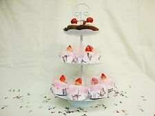 Iron 3 tiers dessert cupcake round sweets stand white color