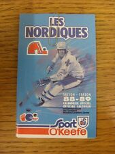 1988/1989 Fixture Card: Ice Hockey - Nordiques Quebec (fold out style). Any faul