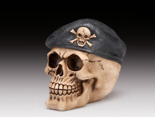 SKULL WITH MILITARY BERET SKELETON FIGURINE STATUE HALLOWEEN