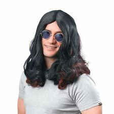 Ozzy Osbourne Wig 70s Glam Rock Long Black Sabbath Hippy Fancy Dress Sharon