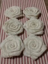 6 Ivory Burlap Flowers Cottage Rustic Wedding Outdoor Table Decor Country