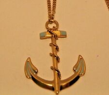 Necklace Pendant Anchor Blue Beautiful LONG Gold Small Curb Link Chain NWT L548
