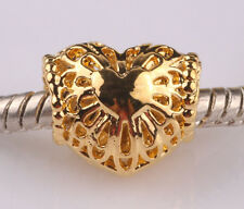 gilded hollow love big hole spacer beads fit Charm European Bracelet AA527