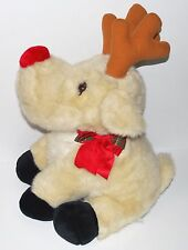 """Plush Christmas Reindeer 1995 JC Penney Holiday Collection 20"""" cream color EUC"""