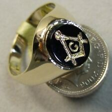 9ct gold new onyx masonic ring Ref B