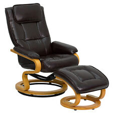 Recliner Chair with Ottoman Brown Leather Footstool Swivel Modern Plush Wood