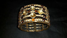 Vintage Bridal Crystal Wide Gold Bronze Feature Cuff Bracelet Deep Crystals Chic