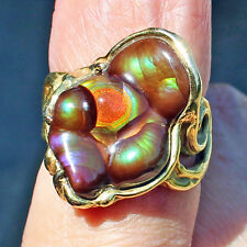 Gorgeous Ring 18k Gold Fire Agate Gem AAA Quality Slaughter Mountain Arizona