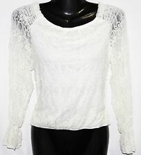 M LOLITA Steam Punk Off Shoulder Gothic Boho Victorian Pirate Lace Blouse Top