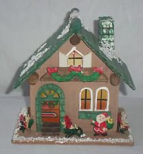 Vtg Wood Wooden Lighted Christmas Village House Santa Claus Snow Covered Green