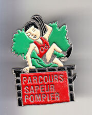 RARE PINS PIN'S .. POMPIER FIRE COURSE PARCOURS CROSS NICE 06 ~BW
