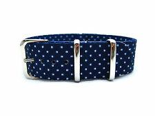 HNS 20MM Double Graphic Printed White Dots Navy BG Nylon Zulu Watch Strap