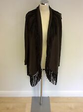 MARCCAIN BROWN & BLACK FRINGING WOOL & CASHMERE CARDIGAN SIZE N5 UK XL