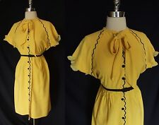 Vintage Atq 30s 40s WWII era Bee Yellow Black Scalloped Shirtwaist Day Dress M L