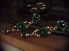 Vintage Gold & Emerald Green Rose Long Drop Clip Earrings. Very Dolce & Gabbana
