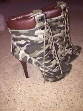 NEW Dollhouse High Heel Camoflauge Boots/Shoes in Camo, Stilettos Size 8.5